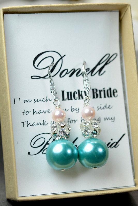 زفاف - Blush pink teal Wedding Jewelry Bridesmaid Gift Bridesmaid Jewelry Bridal Jewelry Pearl Drop Earrings Cubic Zirconia