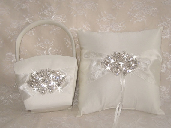 Свадьба - Flower Girl Basket Set with Ring Bearer Pillow  -  Rhinestones Crystals and Satin Ivory or White