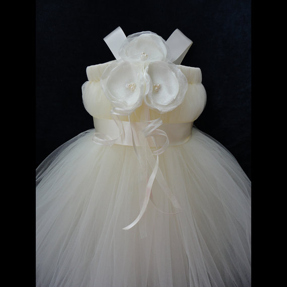 Свадьба - Ivory Tutu Flower Girl Dress
