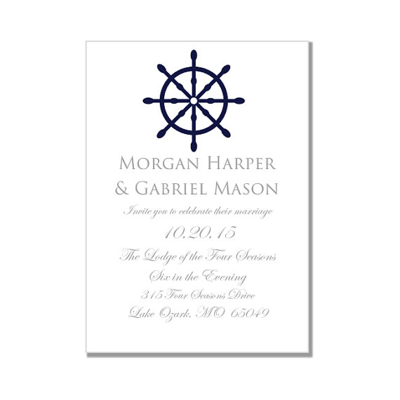 Nautical Wedding Invitation TemplateNautical Wheel Printable
