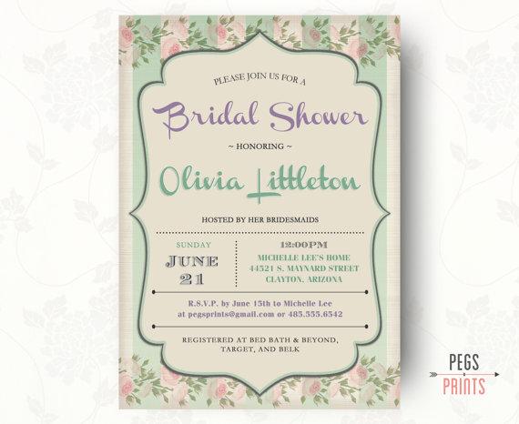 Wedding - Shabby Chic Bridal Shower Invitations, Printable, Floral Bridal Shower Invitation, Floral Wedding Shower Invitation, Spring Bridal Shower