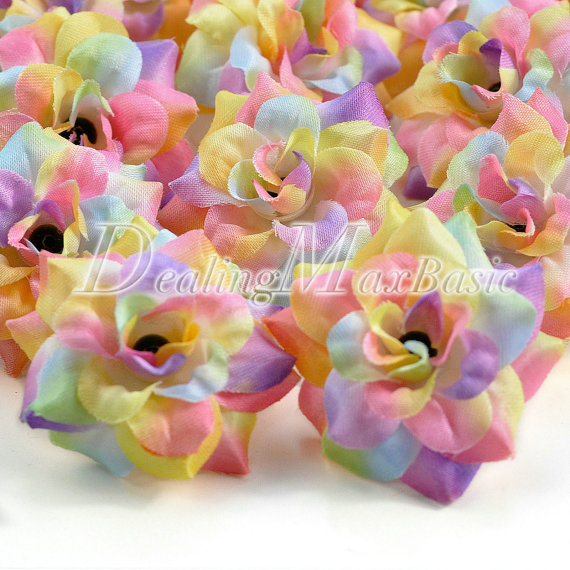 Свадьба - 50pcs Light Rainbow 50mm Artificial Silk Rose Flower Heads For Clips Bridal Wedding Party Home Decor HS0001-25