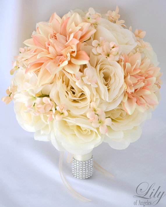 Wedding Flowers In Silk : Silk flower wedding bouquet arrangements