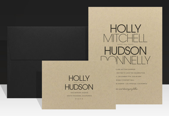 Modern Typography Fall Wedding Invitation Bold Urban Wedding