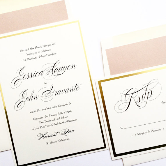 "Mariage - Gold Foil Wedding Invitation ""LOVELY IN LUX"" Blush Wedding Invitations Blush Wedding Invitations"