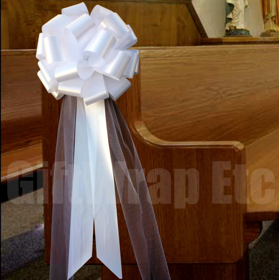 6 Large White Pull Bows Tulle Tails Wedding Church Pew Decorations ...