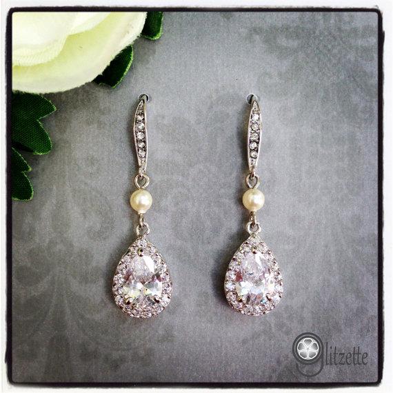 Mother Of The Bride Jewelry: Bridesmaid Bridal Wedding Earrings, Bridal Dangle Earrings