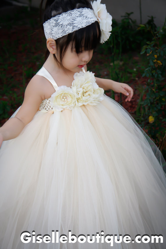 Mariage - Flower girl dress Ivory Vintage with Pearls TuTu Dress, baby tutu dress, toddler tutu dress, wedding, birthday, Newborn, 2t,3t,4t,5t