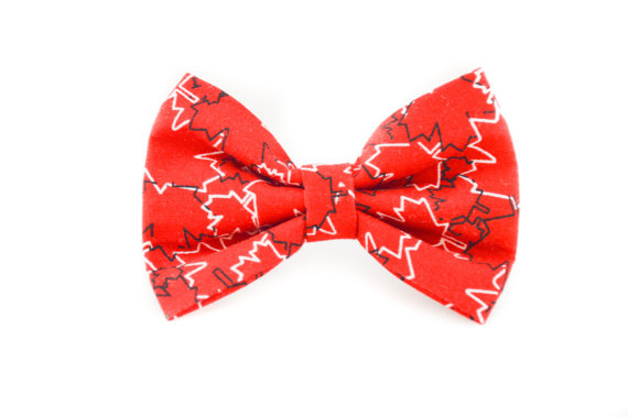 Свадьба - Maple Leaf Dog Bow Tie - July First Canada Day Red and White Detachable Pet Bow Tie