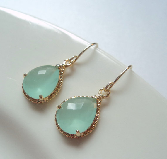 Aqua Mint Aquamarine Gl Gold Tear Shape Drop Dangle Earrings Bridal Bridesmaids Wedding Jewelry Bridesmaid