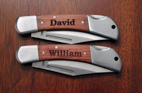3 Personalized Engraved Wood Gentlemen's Knife, Groomsmen Knife, Wedding Party Knife, Engraved Knife, Mens Gifts, Personalized Wood Knife