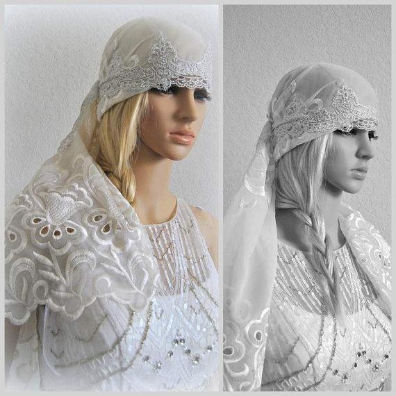 Hochzeit - Zingara Bridal Headpiece Wedding Headdress Lace Headwrap Vintage inspired Headpiece Flower Veil Alternative Bridal Fascinator