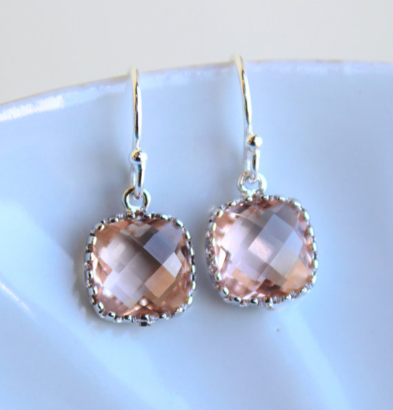 Dainty small champagne blush earrings silver peach for Jewelry for champagne wedding dress