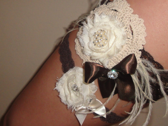Mariage - Vintage Inspired Ivory and Chocolate Brown Pearl and Rhinestone Accent Lace Wedding Garter Set, Bridal Sash, or Headband