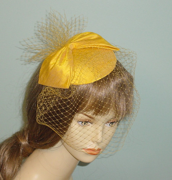 Mariage - Cocktail Hat Yellow Silk Dupioni with Birdcage Veil and Pouf Vintage Style Many Other Colors Made to Order