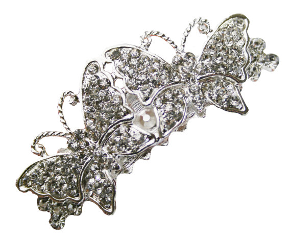 Свадьба - Butterfly Hair Clip Rhinestone Flower Girl Bridal Wedding Accessories