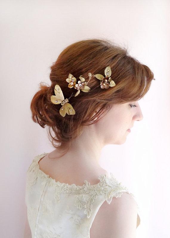 Bronze Gold Hair Jewelry Bridal Hair Pins Formal Hair Accessories