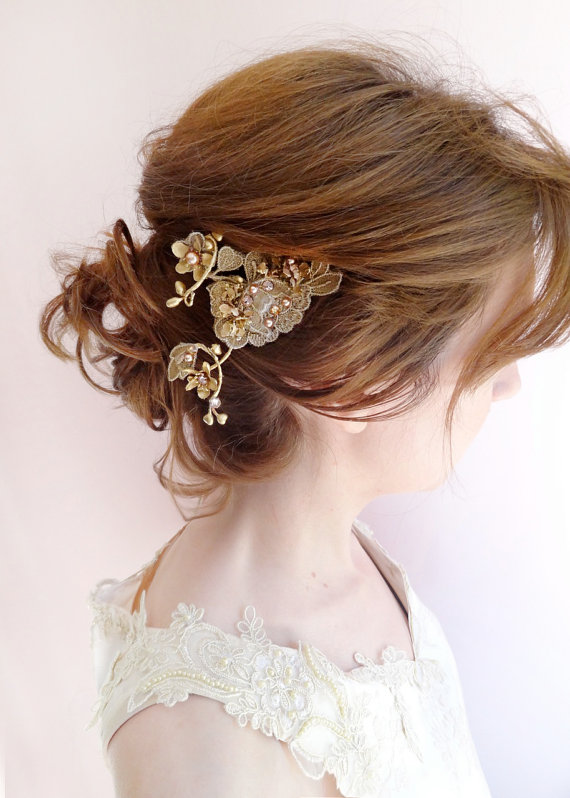 Lace Hair Clip Bronze Gold Hair Jewelry Formal Hair Accessories