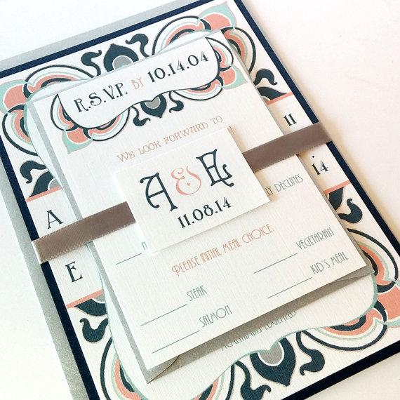 Art Nouveau Elegant Bloom Wedding Invitation Sets - Art Nouveau Art ...