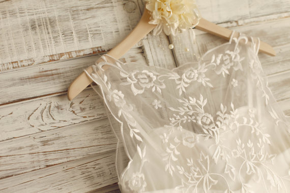 Boda - Sheer See Through Lace Tulle Beach Wedding Dress Knee Length Short Bridal Gown