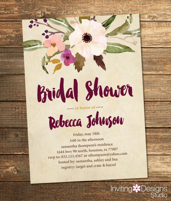 bridal shower invitation watercolor floral fall purple plum wine coral gold brown flowers retro vintage tan printable file