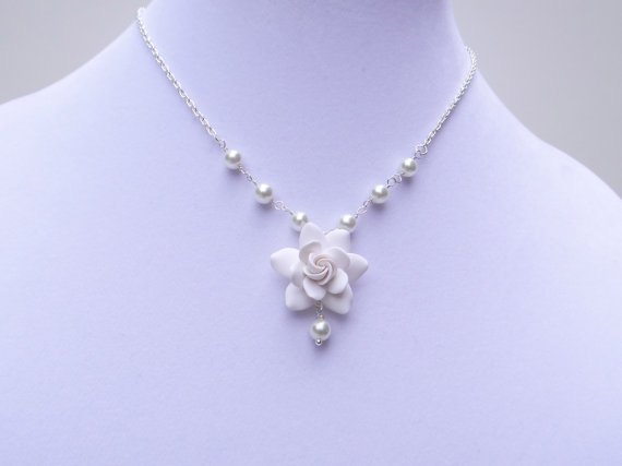 Wedding - White Gardenia Necklace, White Flower Necklace, White Floral Jewelry, White Bridal Jewelry, Gardenia Necklace