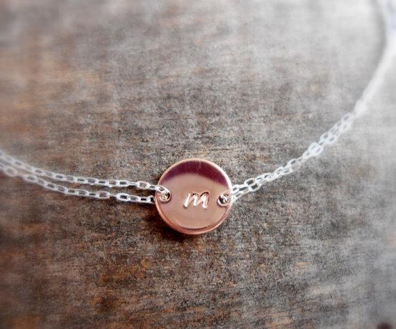 زفاف - New -Rose gold Personalized bracelet, monogram bracelet, children, mother, bridal, wedding jewelry, gift, bridesmaid