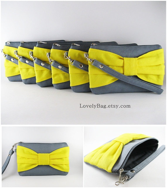Mariage - SUPER SALE - Set of 3 Gray with Yellow Bow Clutches - Bridal Clutches, Bridesmaid Clutch,Bridesmaid Wristlet,Wedding Gift - Made To Order