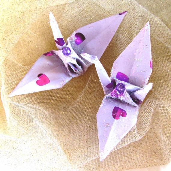 Lavender Valentine Bird Wedding Cake Topper Heart Peace Crane Party Favor Christmas Ornament Origami Japanese Eco Friendly Paper Decoration
