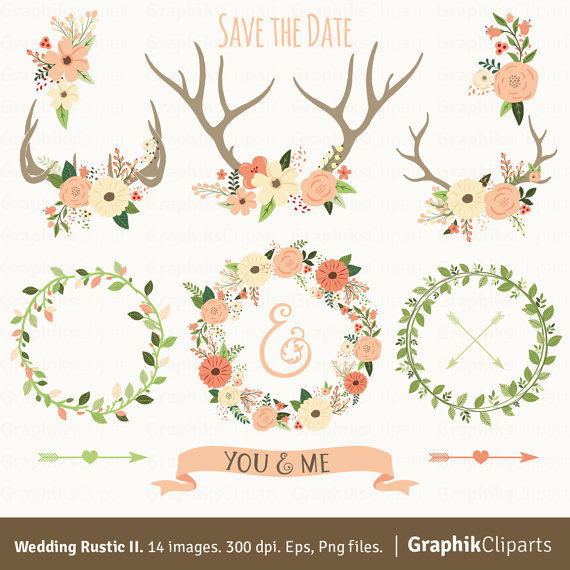 Rustic Wedding Clipart II WEDDING CLIPART Floral Antlers Wreaths Arrows 14 Images 300 Dpi Eps Png Files Instant Download