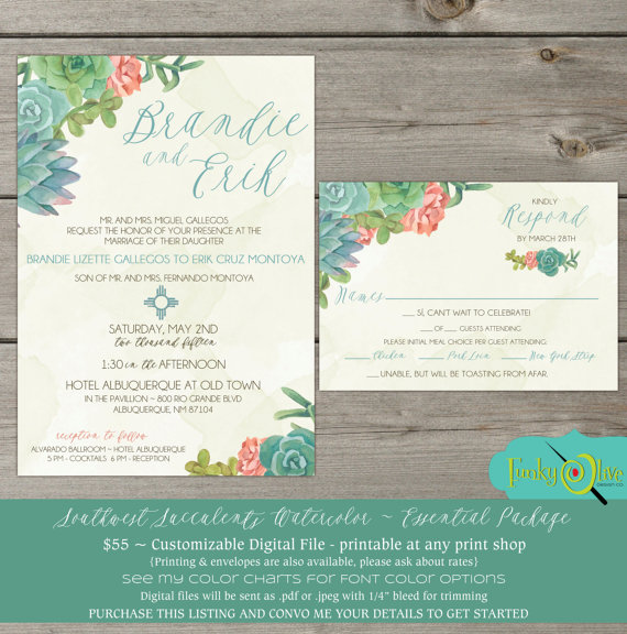 Düğün - Wedding Invitation Southwest Succulents Watercolor Cactus Zia RSVP - DIGITAL FILE- Bridal Shower Rehearsal Dinner Wedding Birthday Party