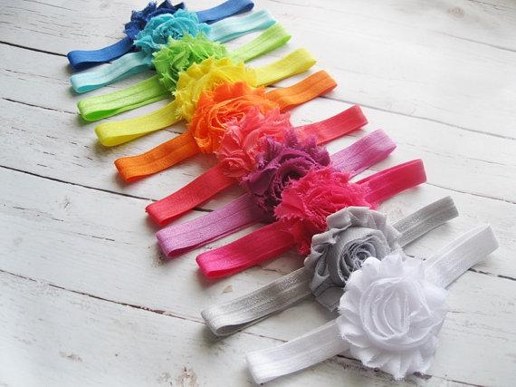 Mariage - 10 shabby headband set - chiffon headbands - newborn baby girl headband - baby shower - white grey pink coral orange yellow aqua lime blue