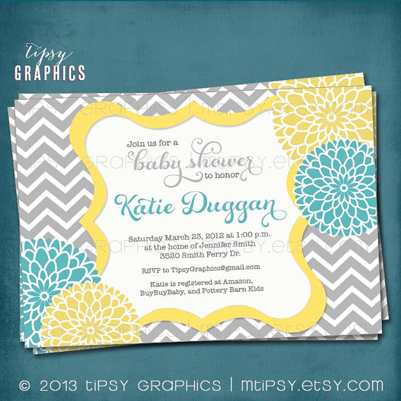 Mariage - Spa Pom Pom. Chevron Mums Baby / Bridal Shower Invite by Tipsy Graphics. Any colors and text.