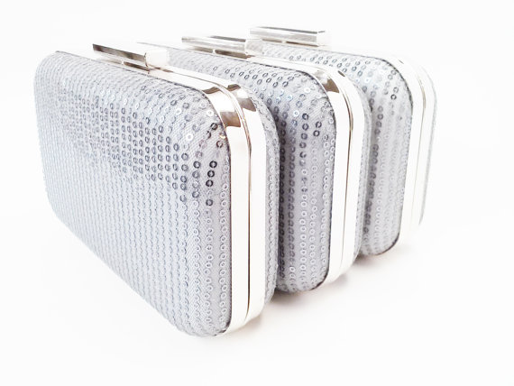 Wedding - bridesmaids gifts, sequin clutches, gunmetal grey clutches, silver clutches, wedding clutches, bridal accessories, gunmetal bridesmaid