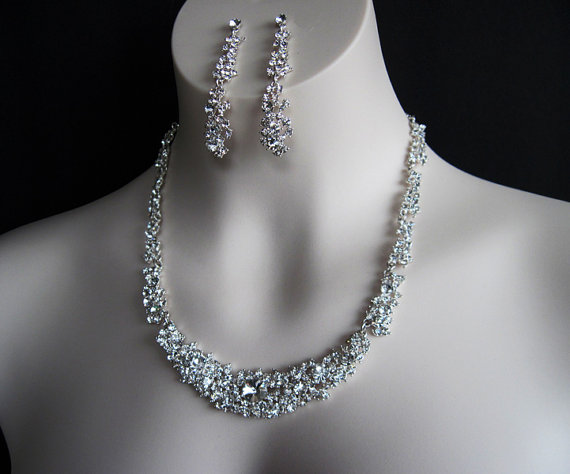 Graceful Wedding Jewelry Set Sparkling Rhinestone Necklace Earrings Special Occasion Bridal