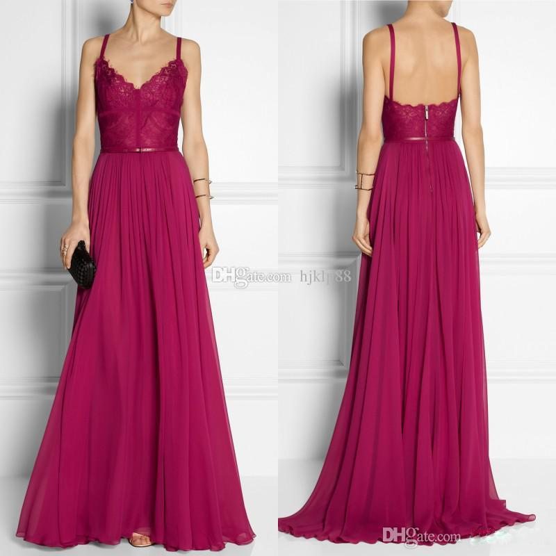 Wedding - Vintage Grape A Line Spaghetti Straps Sweep Train Lace Waist Chiffon Evening Prom Dress 2015 Elie Saab Dress EM00589 Online with $80.63/Piece on Hjklp88's Store