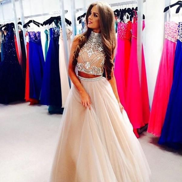 Two Pieces! New Sexy Champagne High Neck Tulle Prom Dresses 2015 ...