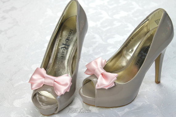 Mariage - Pink Shoe Clip, Pink Bow Shoe Clips, Pink Wedding Accessories Shoes Clip, Pink Bow Clip Shoes