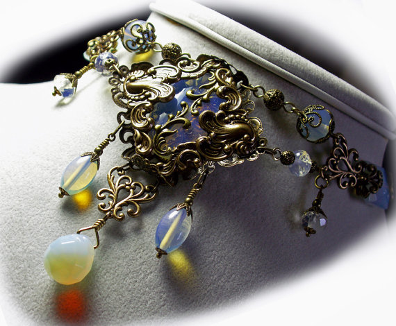 Mariage - Steampunk Choker Iridescent White Sea Opal Crystal Antiqued Gold Bronze Filigree Titanic Temptations Jewelry Vintage Victorian Bridal Style