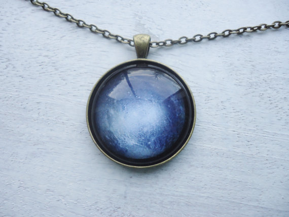 Mariage - Necklace PLUTO planet pendant including chain Galaxy jewelry(7)
