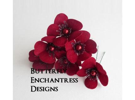 زفاف - Red Hair Flowers, Wedding Hair Accessories, Bridal Hair Pins - Dark Red Velvet Sakura Flowers