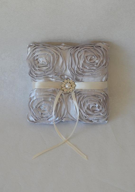 Wedding - Silver rosette wedding ring bearer pillow-custom grey and ivory ring holder, ring cushion, custom pillow, brooch pillow, wedding party