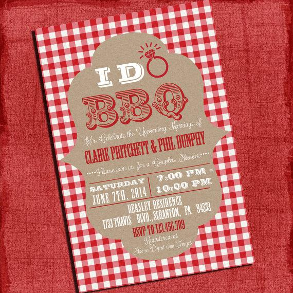 "Mariage - Printable ""I Do"" BBQ Barbecue Couples/Coed Wedding Shower or Engagement party Invitation with Gingham and Gingham Background"
