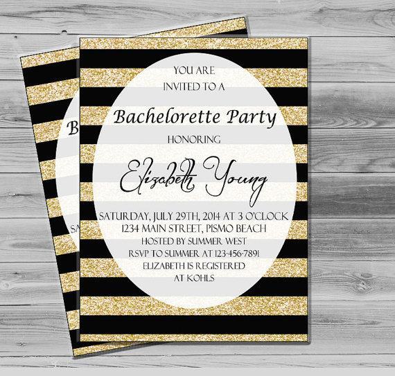 Mariage - Bachelorette Invitation, Printable Bachelorette Party Invites, Gold Glitter Invitation,  Gold and Black JPEG Custom Invite