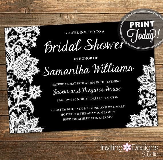 Mariage - Lace Bridal Shower Invitation, Wedding Shower Invitation, Lace, Black, White, Printable File (Custom Order, INSTANT DOWNLOAD)