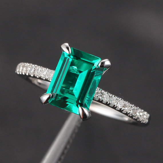 Wedding - Claw Prongs VS Emerald SI 0.25ct Pave Diamond 14K White Gold Engagement Ring