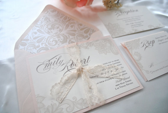 Mariage - Reserved Listing for Katie- Lovely Ivory and Blush Lace Wedding Invitation