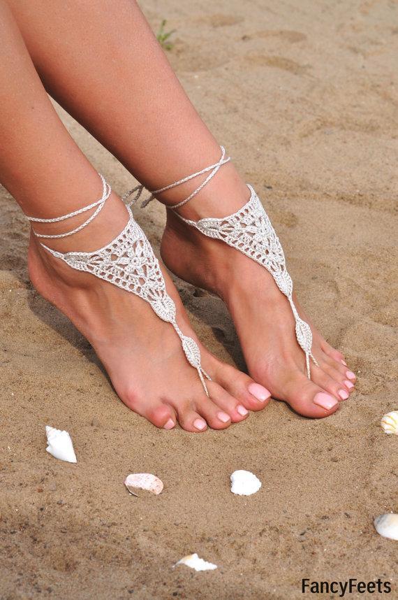 Hochzeit - Crochet Ivory Barefoot Sandals, Beach shoes, Foot jewelry, Bridesmaids gift, Barefoot sandle, Beach accessory, Wedding accessory