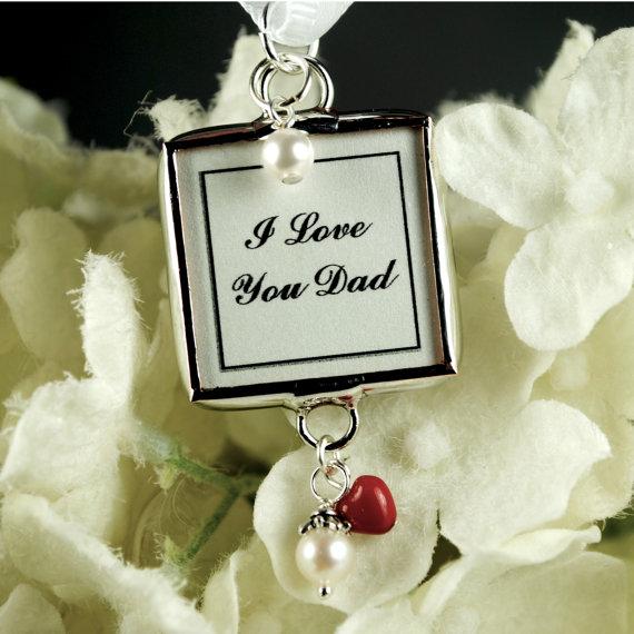 زفاف - Swarovski Heart Bridal Bouquet Photo Charm Memorial Wedding Pendant