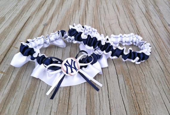 Wedding - New York Yankees Inspired Navy Blue & White Bridal Satin Baseball Wedding Keepsake Or Garter SET